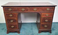 Edwardian Inlaid Mahogany Leather Top Desk (3 of 4)