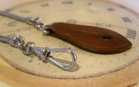 Vintage Pocket Watch Chain 1970s Long Chrome Snake Link With Leather Button Fob (6 of 11)