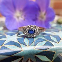 Art Deco 18ct Yellow Gold, Platinum, Sapphire & Diamond Ring (6 of 9)