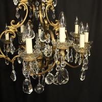 French Bronze & Crystal 12 Light Chandelier (7 of 10)