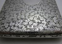 Quality Victorian 1894 Solid Sterling Silver & Leather Aide Memoire Card Note Stamp Case Purse Wallet. English Hallmarked (5 of 12)