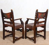 4 Dining Chairs Ships Nautical Chairs Oak Leather 19th Century (8 of 10)