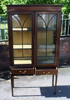 1920s Mahogany 2 Door Glass China Cabinet with Drawers (3 of 5)
