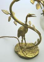A Good Edwardian Gilt Brass Novelty Heron / Stork Table Lamp C.early 20thc (4 of 7)