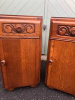 Pair of Antique Oak Bedside Cabinets (2 of 8)