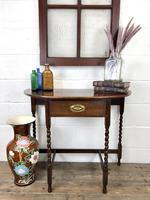 Antique Oak Demi-lune Console Table (12 of 14)