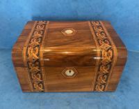 Victorian Walnut Jewellery Box with Tunbridge Ware Inlaid Bands (3 of 11)