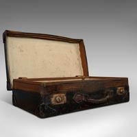 Antique Suitcase, English, Leather, Travel, Salesman, Officer, Case, Edwardian (9 of 10)