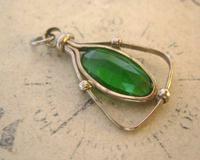 Antique Pocket Watch Chain Fob 1900 Art Nouveau Silver Chrome & Vivid Green Glass Fob (4 of 8)