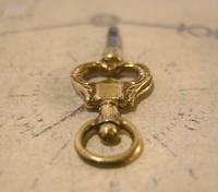 Georgian Pocket Watch Fob Key 1830s Antique Brass Heart Key Size 4 (10 of 10)