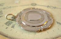 Vintage Pocket Watch Chain Fob 1940s Large Silver Chrome Ornate Shield Fob Nos (6 of 8)