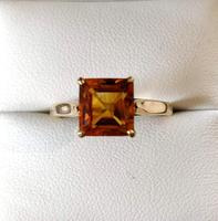Vintage 9ct Gold Citrine Solitaire Ring Size Q (3 of 8)