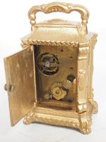Antique Travelling Miniature Carriage Clock - Original Leather Case Made of Gilt Metal with Enamel Dial Mantel Clock (10 of 12)