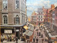 """Figurative Art Oil Painting Manchester Market Place """"The Street Traders"""" by Patrick Burke (4 of 34)"""