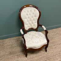 Stunning Mahogany Upholstered Antique Armchair (4 of 7)