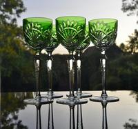 5 Green Hock Glasses Bohemian 1960 (4 of 5)