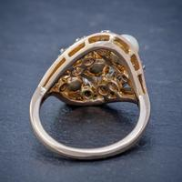 Antique Edwardian Pearl Diamond Cluster Ring 18ct Gold c.1910 (2 of 6)