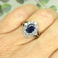 Vintage 18ct white gold sapphire diamond cluster ring ~ 1.55ct sapphire (9 of 10)