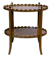 Oval Inlaid Mahogany 2 Tier Table by Shoolbred (2 of 6)