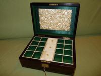 Brass Bound Rosewood Jewellery Box. Plush Interior c.1860 (2 of 11)