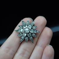 Antique Victorian Old Cut Paste Sterling Silver Star Brooch Pin (5 of 8)
