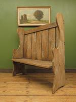 Antique Elm Tavern Bench Settle, Rustic Hall Seat (12 of 19)