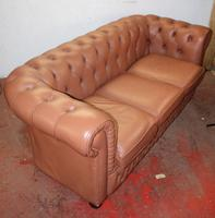 1960's Leather Chesterfield 3 Seater Sofa Upholstered Light Tan (2 of 3)
