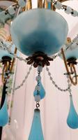 Murano, Rare Italian Chandelier in Aqua Beaded Opaline (6 of 8)