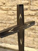 French Bronze Altar Cross Crucifix on Slate Stone Base (6 of 9)