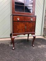 Antique Slim Figured Walnut Bookcase (10 of 12)