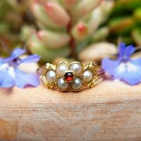 Antique 18ct Yellow Gold Garnet & Pearl Locket Ring (3 of 10)