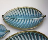 A Retro Set 4X Novelty Studio Pottery Leaf Plates Surrey Ceramics 1960's (6 of 11)