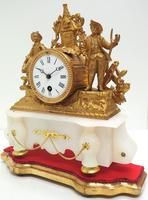 Stunning Complete French Mantel Clock Under Dome with Base Figural Mantle Clock. (9 of 10)