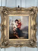 Antique Georgian early Victorian oil painting portrait of children in gesso frame (8 of 9)