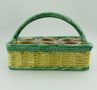 Attractive Novelty Majolica Pottery Eggery / Egg Stand Basket 19th Century (3 of 5)