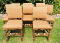 8 Waring & Gillow Chairs Oak William Morris Fabric (10 of 10)