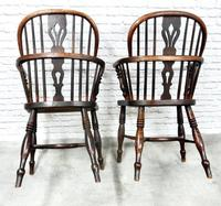 Pair of Named Windsor Lowback Armchairs, F Walker of Rockley (8 of 8)