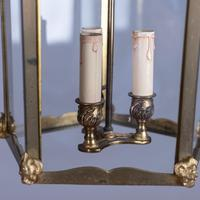 Large French Brass & Glass Hall Lantern (4 of 4)