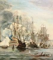 Battle of Trafalgar Marine Seascape Oil Painting (3 of 4)
