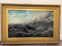 Huge 19th Century Seascape Oil Painting Sinking Ship Signalling Rescuers by Henry E Tozer (2 of 58)