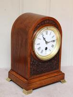 Edwardian Oak Arch Top Mantel Clock (7 of 12)