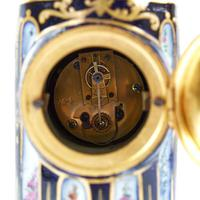 French Blue & Gilt Porcelain Cased Mantel Clock in the Form of a Column (3 of 3)