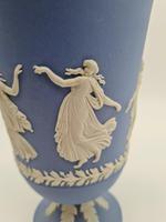 """Vintage 1970's Wedgwood Blue Jasperware Vase 8"""" Tall (4 of 5)"""