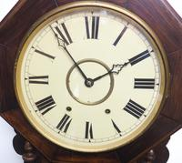 Impressive Victorian American Drop Dial Wall Clock 8 Day Movement Inlaid Case (6 of 14)