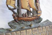 Pair of Painted Bronze Sailing Ship Doorstops or Bookends (5 of 10)