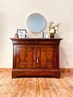 French Antique Cupboard / Flamed Mahogany Commode / Louis Philippe