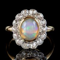 Antique Edwardian Opal Diamond Ring 18ct Gold Platinum 1.80ct Opal Circa 1910 (7 of 7)
