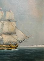 Original Seascape Oil Painting of 18th Century HMS Victory Docked White Cliffs Of Dover (4 of 11)