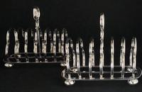 Pair of Antique Walker & Hall 7 Bar silver Plated Toast Racks (5 of 6)