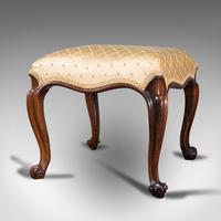 Antique Dressing Stool, English, Walnut, Upholstery, Boudoir Seat, Regency c.1820 (3 of 12)